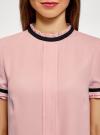 Блузка из струящейся ткани с контрастной отделкой oodji #SECTION_NAME# (розовый), 11401272-1/36215/4129B - вид 4