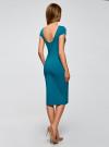 Платье миди с вырезом на спине oodji для женщины (бирюзовый), 24001104-5B/47420/7300N - вид 3