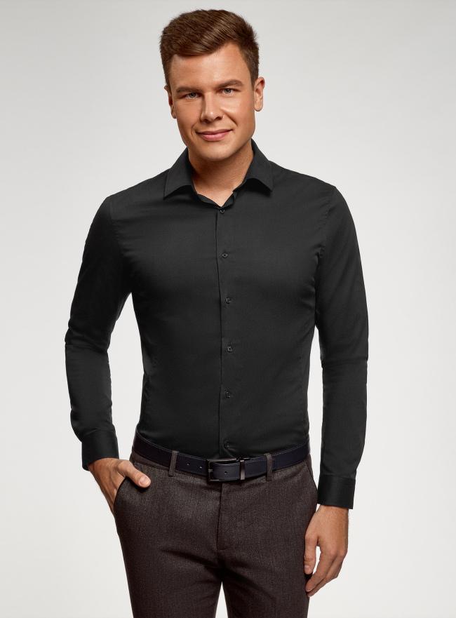 Рубашка базовая приталенная oodji для мужчины (черный), 3B140000M/34146N/2900N