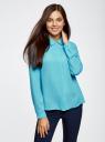 Блузка из струящейся ткани oodji #SECTION_NAME# (бирюзовый), 11400368-3/32823/7300N - вид 2