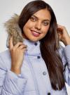 Куртка удлиненная с искусственным мехом на капюшоне oodji #SECTION_NAME# (синий), 10203058/45928/7502N - вид 4