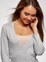 Жакет трикотажный с запахом oodji для женщины (серый), 63212495/46314/2000M