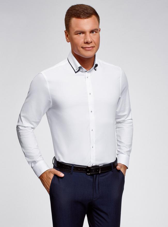 Рубашка хлопковая с контрастной отделкой oodji #SECTION_NAME# (белый), 3L110332M/48645N/1000O