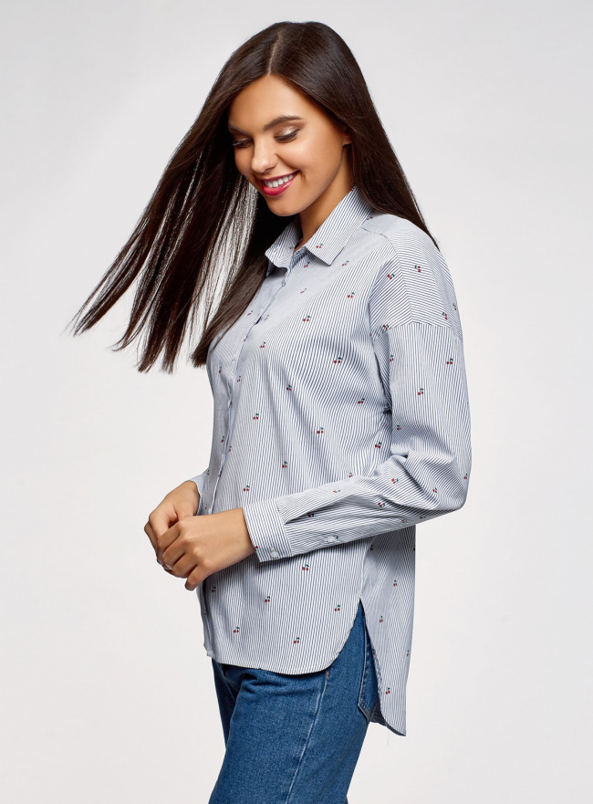Рубашка хлопковая oversize oodji #SECTION_NAME# (белый), 13K11012-1/46807/1079S