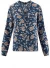 Блузка принтованная из вискозы oodji #SECTION_NAME# (синий), 11411049-1/24681/7912F