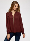 Блузка из струящейся ткани с металлическим украшением oodji #SECTION_NAME# (коричневый), 21414004/45906/4900N - вид 2