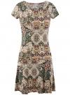 Платье трикотажное с воланами oodji #SECTION_NAME# (зеленый), 14011017/46384/6233E