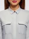 Блузка из струящейся ткани с нагрудными карманами oodji #SECTION_NAME# (серый), 11403225-6B/48853/2300N - вид 4