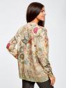 Блузка свободного силуэта с цветочным принтом oodji #SECTION_NAME# (бежевый), 21411109/46038/3319F - вид 3