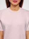Джемпер прямого силуэта с коротким рукавом oodji #SECTION_NAME# (розовый), 63812651/46096/4000M - вид 4