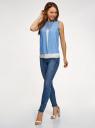 Блузка двуцветная многослойная oodji #SECTION_NAME# (синий), 14901418/26546/1202B - вид 6
