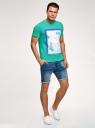Футболка хлопковая с принтом oodji для мужчины (зеленый), 5L621002I-53/44135N/6519P