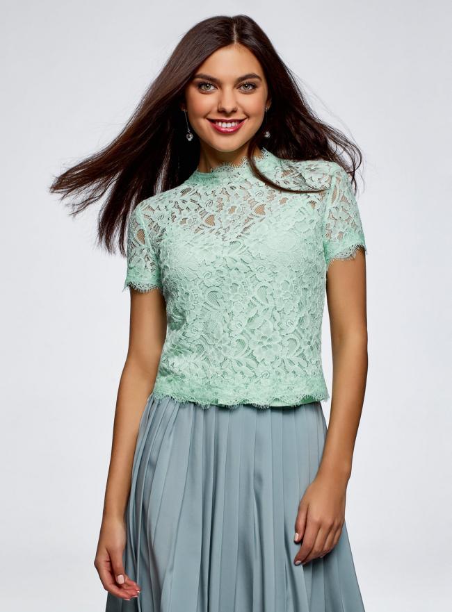 Блузка ажурная с коротким рукавом oodji #SECTION_NAME# (зеленый), 11401277/48132/6500L