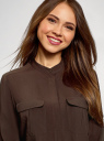 Блузка вискозная с нагрудными карманами oodji #SECTION_NAME# (коричневый), 11403225-7B/42540/3900N - вид 4