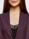 Кардиган удлиненный со струящимися полами oodji #SECTION_NAME# (фиолетовый), 73212398/45722/8800N - вид 4