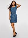 Платье принтованное из вискозы oodji #SECTION_NAME# (синий), 11910073-2/45470/7529F - вид 6
