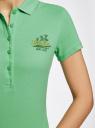 Поло из ткани пике с вышивкой oodji #SECTION_NAME# (зеленый), 19301001-5/46161/6500P - вид 5