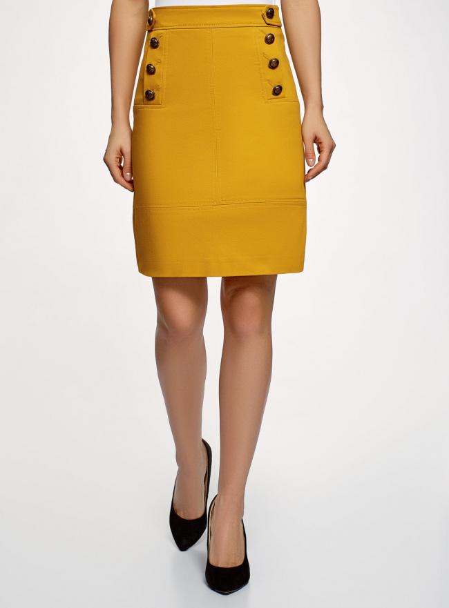 Юбка прямая с декоративными пуговицами oodji для женщины (желтый), 21600305/46430/5700N