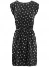 Платье без рукавов из принтованной вискозы oodji #SECTION_NAME# (черный), 11910073-1M/26346/2912A