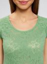 Футболка из фактурной ткани с рукавом реглан oodji для женщины (зеленый), 24707002-2/18047/6200F