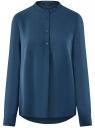 Блузка вискозная А-образного силуэта oodji #SECTION_NAME# (синий), 21411113B/42540/6C00N