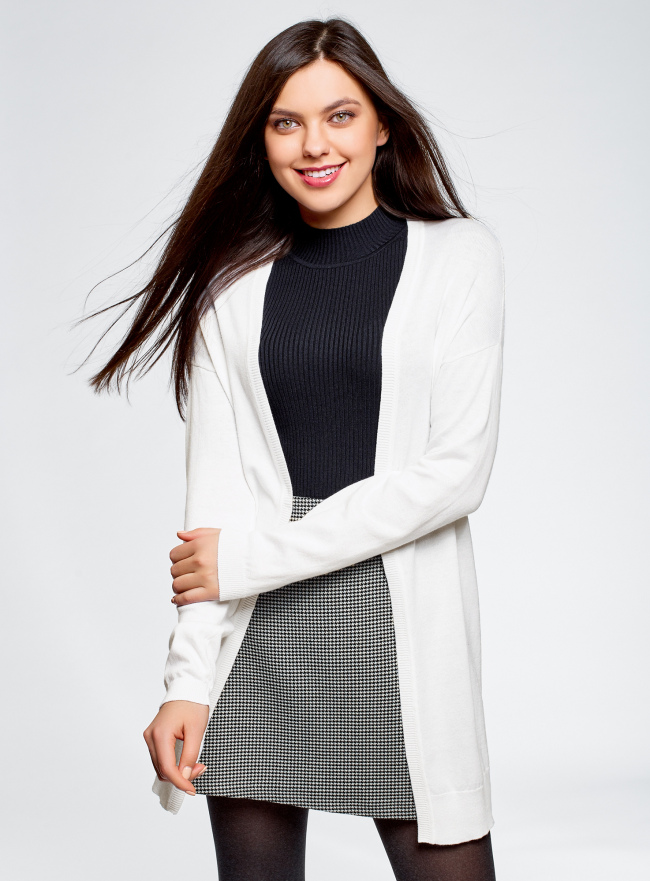 Кардиган без застежки ажурной вязки oodji для женщины (белый), 63212593/47819/1000N