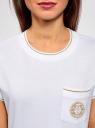 Футболка прямого силуэта с вышивкой oodji #SECTION_NAME# (белый), 14701090/46161/1000P - вид 4