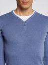 Пуловер с хлопковой вставкой на груди oodji #SECTION_NAME# (синий), 4B212006M/39245N/7410B - вид 4