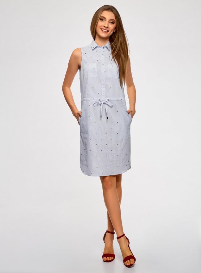 Платье хлопковое на кулиске oodji для женщины (белый), 11901147-4B/45202/1075O