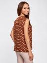 Блузка принтованная из вискозы с двумя карманами oodji #SECTION_NAME# (коричневый), 21412132/24681/3912D - вид 3