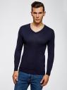 Пуловер базовый из вискозы с V-образным вырезом oodji #SECTION_NAME# (синий), 4L212140M/39795N/7900N - вид 2