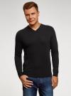 Пуловер базовый с V-образным вырезом oodji #SECTION_NAME# (черный), 4B212007M/39796N/2900N - вид 2