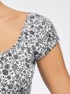 Платье хлопковое со сборками на груди oodji #SECTION_NAME# (белый), 11902047-2B/14885/1029F - вид 5
