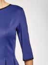 Платье трикотажное со складками на юбке oodji #SECTION_NAME# (синий), 14001148-1/33735/7500N - вид 5