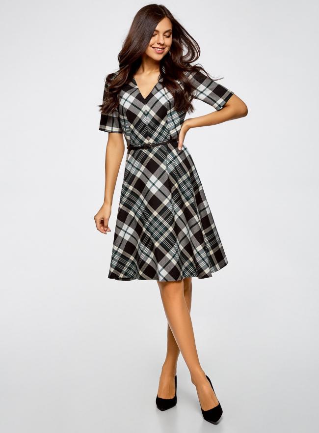 Платье в клетку с V-образным вырезом oodji для женщины (черный), 11902164/45879/296EC