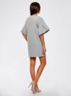 Платье прямого силуэта с воланами на рукавах oodji #SECTION_NAME# (серый), 14000172B/48033/2000M - вид 3