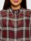 Блузка вискозная с аппликацией на груди oodji #SECTION_NAME# (красный), 13L11003/47353/4930C - вид 4
