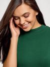 Платье трикотажное с воротником-стойкой oodji #SECTION_NAME# (зеленый), 14001229/47420/6900N - вид 4