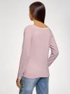 Джемпер базовый с круглым вырезом oodji для женщины (розовый), 63812571-1B/46192/4010M - вид 3