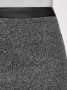 Юбка жаккардовая с поясом из искусственной кожи oodji для женщины (серый), 24101042-3/46082/2912J