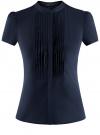 Блузка из фактурной ткани с отстрочками на груди oodji #SECTION_NAME# (синий), 11402088/42287/7900N