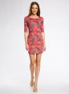 Платье трикотажное облегающее oodji #SECTION_NAME# (красный), 14001121-3B/16300/4366F - вид 2