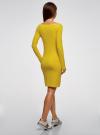 Платье трикотажное облегающего силуэта oodji для женщины (желтый), 14001183B/46148/6700N - вид 3