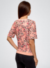 Свитшот из фактурной ткани с коротким рукавом oodji #SECTION_NAME# (розовый), 24801010-9/45284/4020F - вид 3