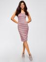 Платье-майка трикотажное oodji #SECTION_NAME# (розовый), 14015007-3B/37809/4123S - вид 2