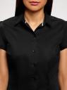 Рубашка хлопковая с коротким рукавом oodji для женщины (черный), 13K01004-1B/14885/2900N