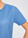 Футболка укороченная из ткани в полоску oodji #SECTION_NAME# (синий), 15F01002-2/46690/7500N - вид 5