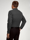 Рубашка базовая приталенная oodji для мужчины (черный), 3B110019M/44425N/2923G - вид 3