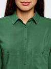 Блузка базовая из вискозы с карманами oodji #SECTION_NAME# (зеленый), 11400355-4/26346/6E00N - вид 4