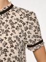 Блузка из струящейся ткани с контрастной отделкой oodji #SECTION_NAME# (бежевый), 11401272-1/36215/3029F - вид 5